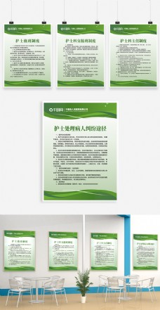 绿色简约风时尚大气医院护士制度牌展板