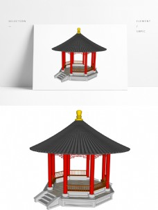 古典中式攒尖亭SU模型