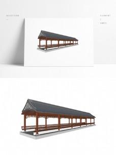 中式廊亭草图大师模型