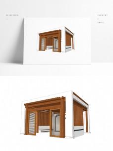 现代中式风格廊亭SU模型