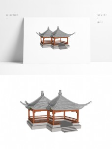 景观常用中式双亭四角亭SU模型