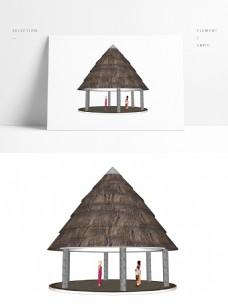 热带常用凉亭SU模型