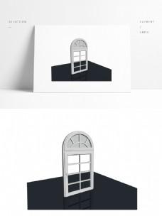 简约单开窗户模型