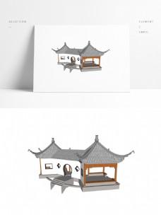常用中式双亭SU模型