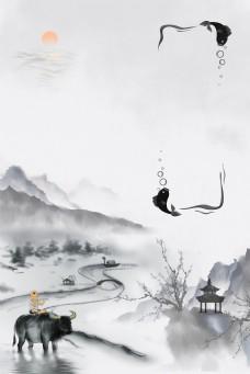 中国风古徽派建筑山水远山
