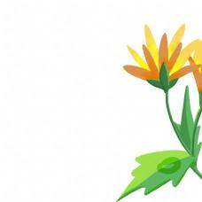 卡通黄色花绿色叶子免扣图