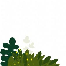 卡通绿色叶子花朵免扣图