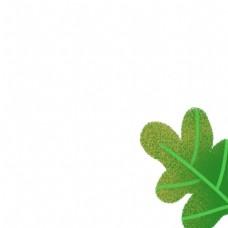 卡通绿色叶子免扣图