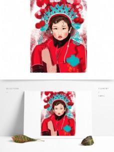 手绘可爱扮演京剧的女孩