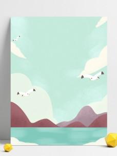 手绘海鸥远山背景素材