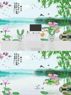 新中式风景背景墙