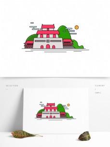 北京特色建筑天安门原创ai旅游景点可编辑