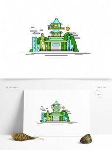 武汉特色建筑旅游景点房子原创AI设计元素
