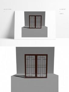 复古风格中式双开玻璃木门