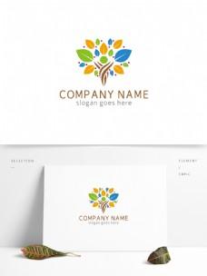 时尚创意彩色树木树叶广告传媒logo