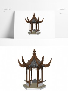 中式古典亭子模型