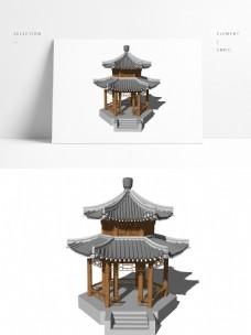 重檐尖顶六角亭模型