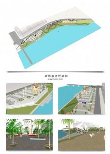 湖边带状公园景观规划SU模型