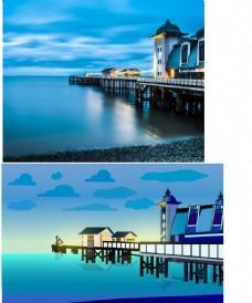 风景插画海景蓝色调