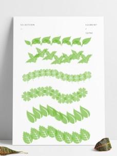 六种草叶笔刷单个及散点