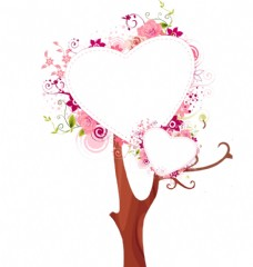 心型花朵树状元素