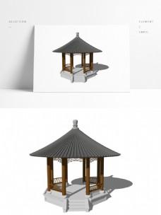 中式攒尖顶亭子模型