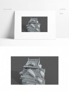 中国风古建筑场景模型