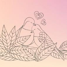手绘情侣鸟
