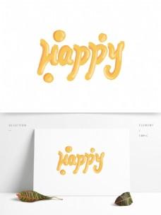 手绘可爱艺术字happy