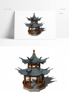 中式重檐亭子模型