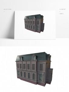 欧式建筑模型带贴图png白底图