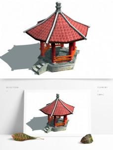 复古六角古亭模型