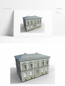 现代欧式建筑模型png白底图