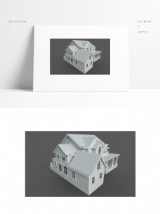 现代别墅小场景白模