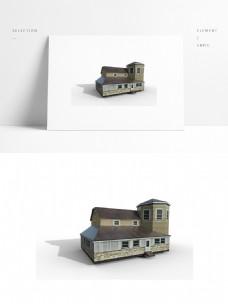 现代别墅场景模型png白底图