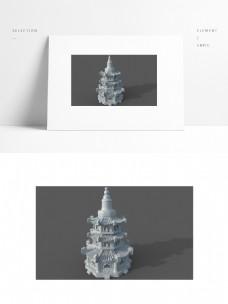 中国风古建筑佛塔白模