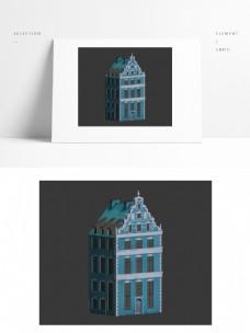 现代欧式建筑场景模型矢量图