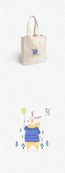原创手绘简约动物插画帆布袋设计