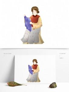 叠衣服的妈妈图案元素