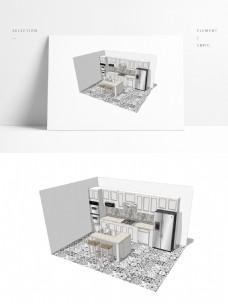 小户型橱柜设计SU透视模型