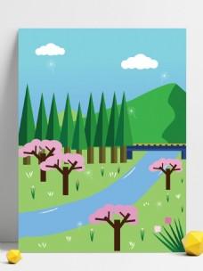 唯美浪漫手绘小森林背景