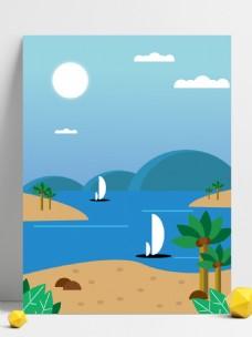 夏季手绘海滩背景