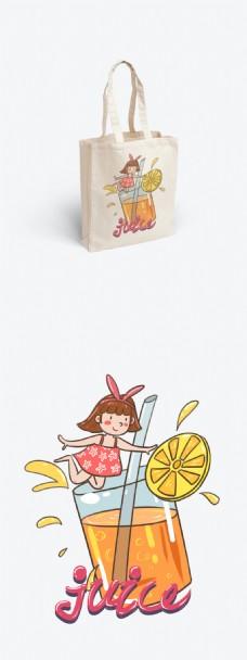帆布袋包装夏日冰爽系列橙汁和女孩可爱卡通
