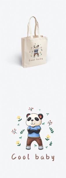 帆布袋包装酷酷的熊猫原创插画