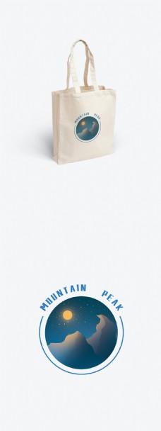 包装帆布袋简约蓝色山峰插画