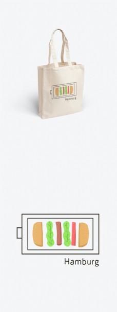 汉堡充电插画绘画帆布袋元素设计