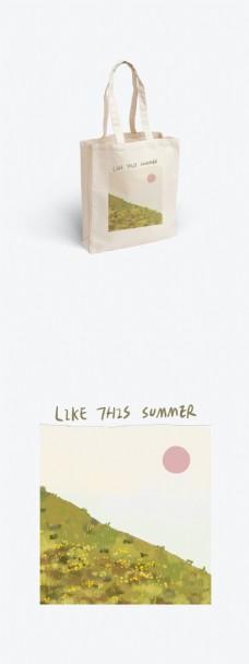 原创夏季清新简约绘本风插画包装