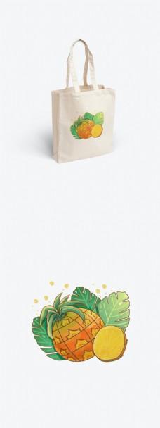 小清新夏天水果凤梨菠萝植物手提袋