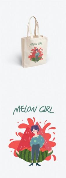 帆布袋包装水果系列西瓜女孩简约清新卡通