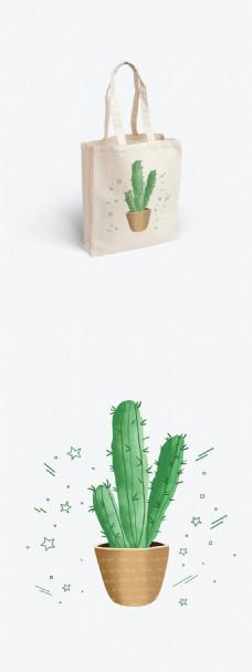 原创绿植帆布袋手绘包装